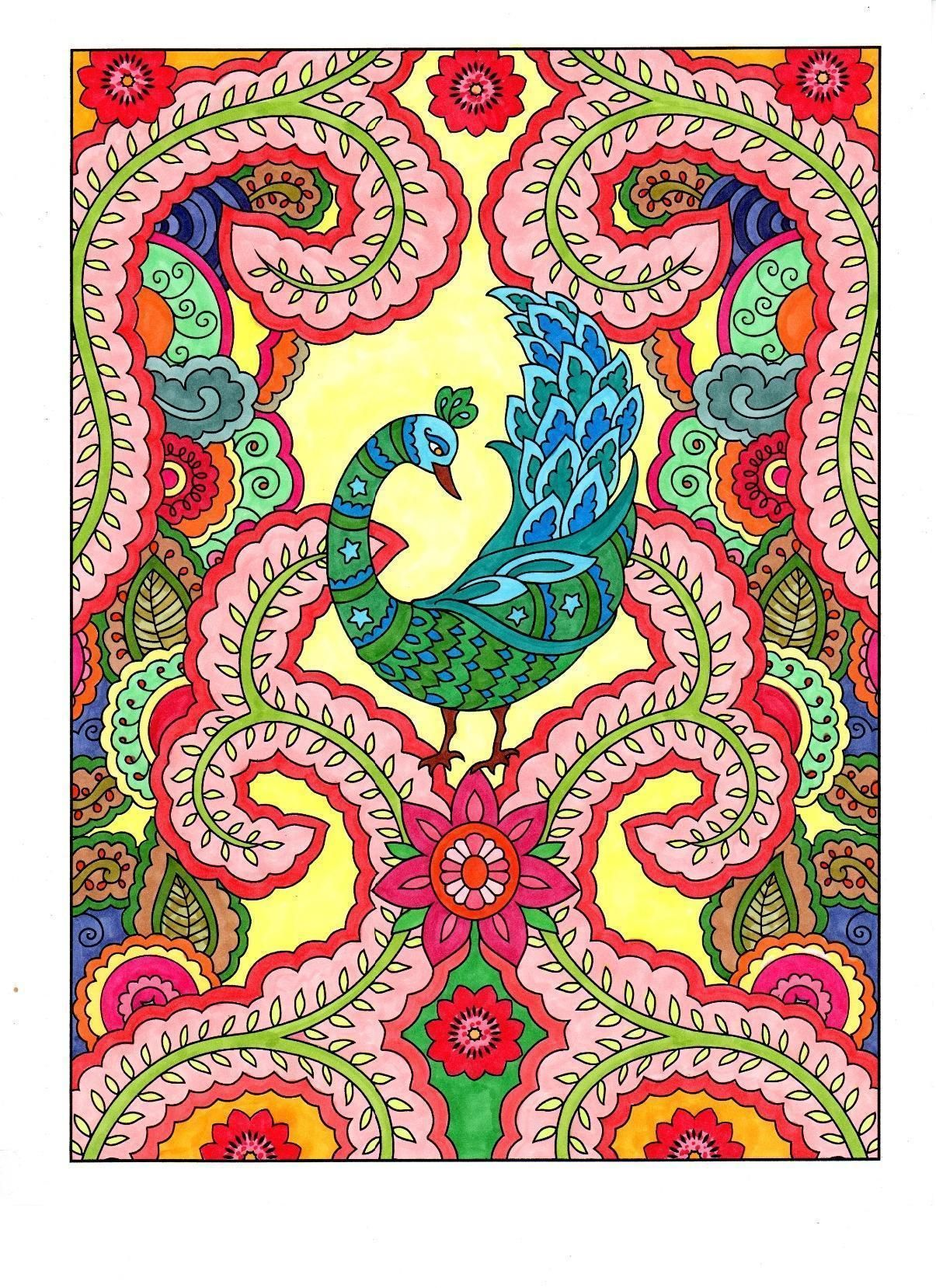 from the Mehndi Designs coloring book by Dover (colored by Michele ...