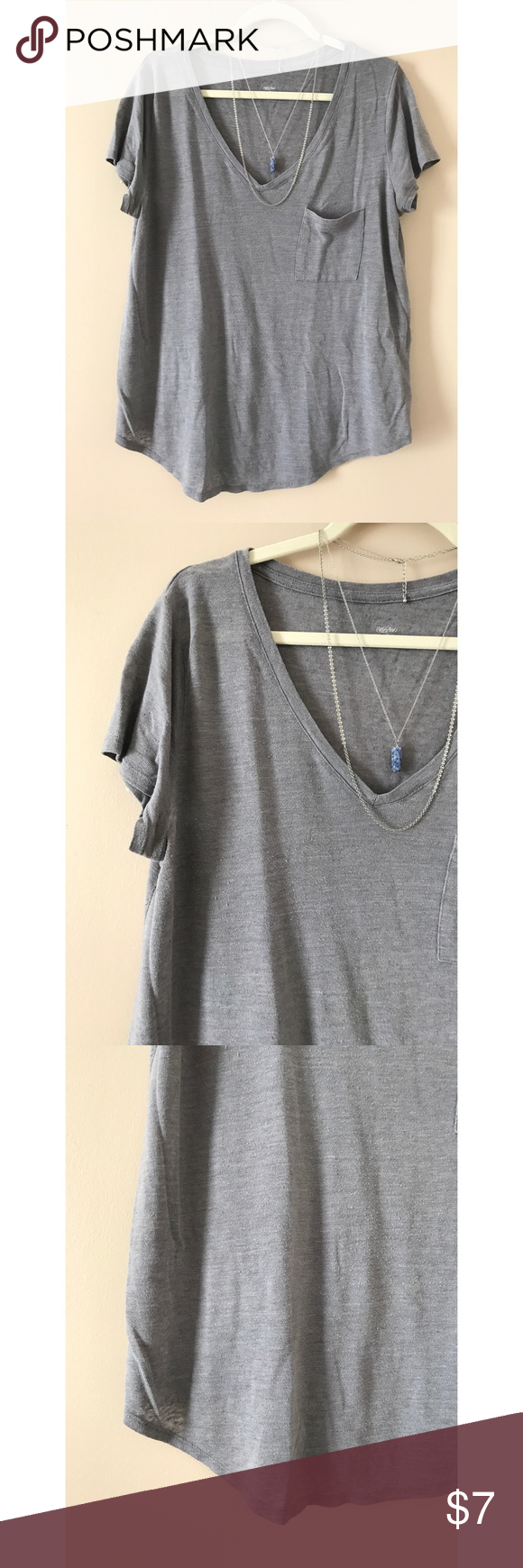 mossimo || slouchy boyfriend tee •oversized  •chest pocket detail •v-neckline •curved hem •lightweight •56% linen, 44% polyester Mossimo Supply Co Tops