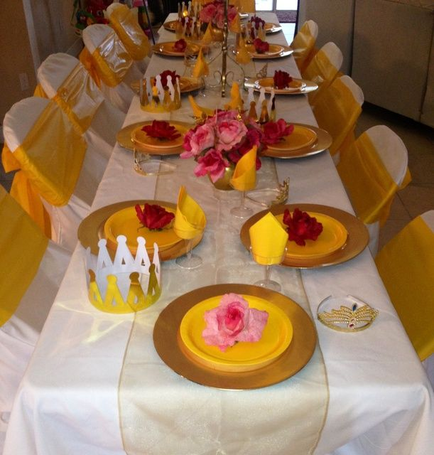 Beauty and the beast birthday party ideas place setting for Beauty and beast table decorations