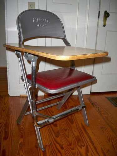 Amazing Vintage Industrial Folding Wood Metal School Desk Music Dept Bralicious Painted Fabric Chair Ideas Braliciousco