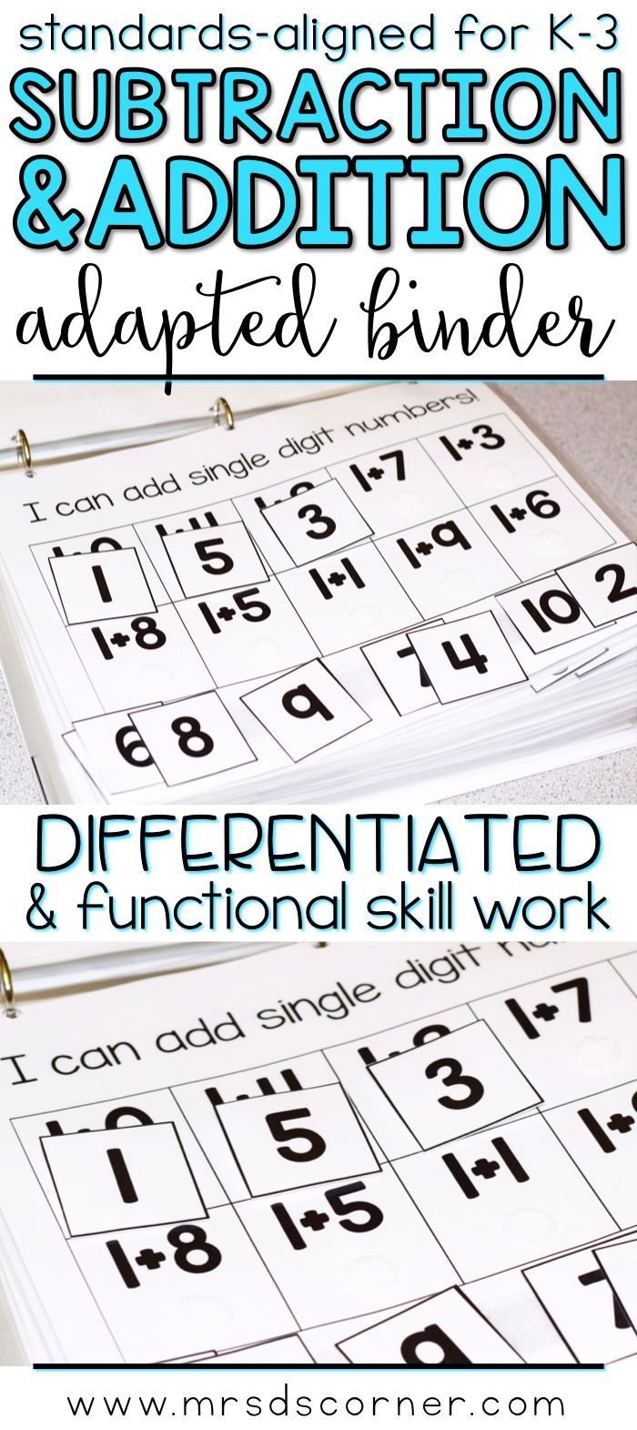 ADDITION AND SUBTRACTION * Functional and differentiated skill work that covers adding and subtracting mathematics standards-aligned topics for grades K-3, this Addition and Subtraction adapted work binder is the perfect addition to any elementary special education classroom. Includes Single digit, Double- and Triple- digit addition and subtraction, Missing Addends, Word Problems. Adapted Work Binders only at Mrs. D's Corner.
