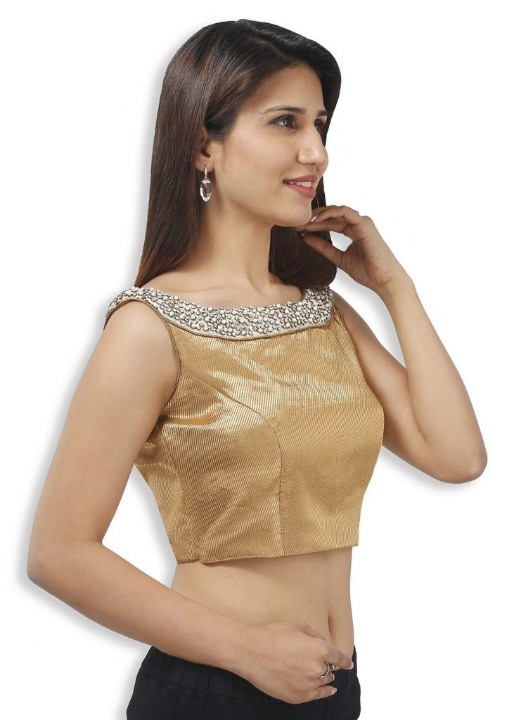 4716d46098e4c Smart Gold Blouse With A Boat Neck Beautifully Embroidered With Gold Blouse