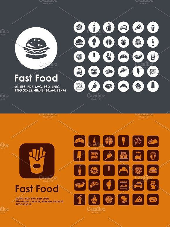Fast Food icons   Lunch Design   Food icons, Line icon, Image editing