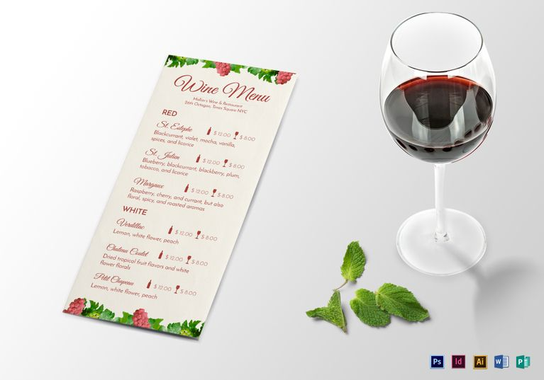 Wine Menu Template Restaurant Menu By Aiw Solutions In Templates