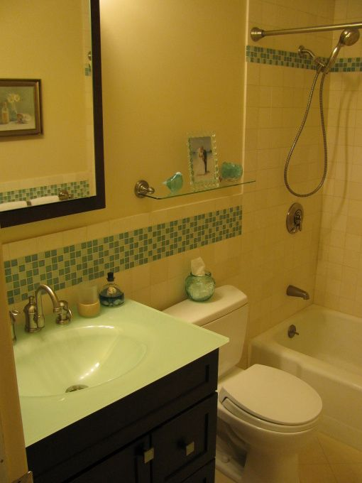 Superieur 5x8 Bathroom Reno With Large Vanity For The Space Small Bath Remodel  W/Limestone U0026 Glass Tile
