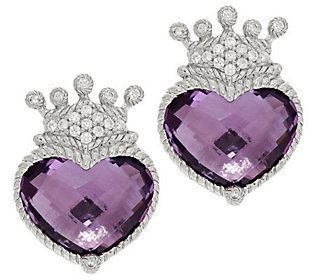 Judith Ripka Sterling 11 0ct Amethyst Heart Diamonique Crown Earrings 275 My