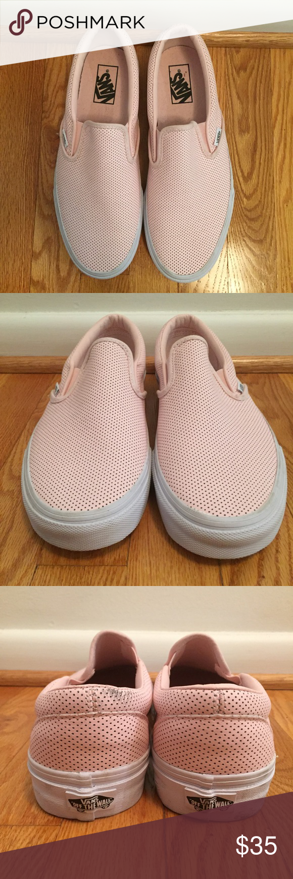 b3ae0c845d3b2e Pink perforated leather slip on Vans Asher Classic These fit large ...