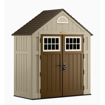 Suncast Alpine 3 Ft 8 In X 7 Ft Resin Storage Shed Bms7300 At The Home Depot Storage Shed Organization Storage Shed Shed