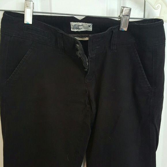 American Eagle black twill pants Barely worn, American Eagle black twill pants, size 0 regular, very soft American Eagle Outfitters Pants Boot Cut & Flare