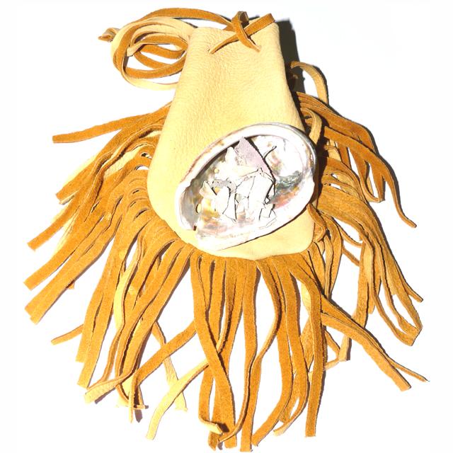 Medizinbeutel aus Hirschleder mit Abalone-Muschel & Salbei - Medizinbeutel - Cleopatra's Duft-Oase