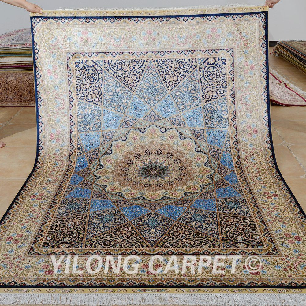 New Design Blue Handmade Silk Rug From Yilong Carpet Factory Size 5 5x8ft Price