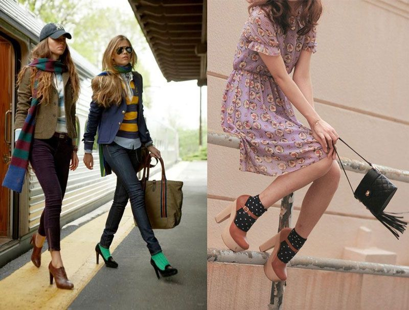 Calzini e tacchi, calze e decollete, stivali e calzettoni