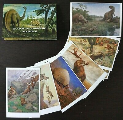 (eBay)(Sponsored) SET 16 Dinosaur Mammoth PREHISTORIC ANIMAL Paleoart Paleontology museum Postcard #prehistoricanimals