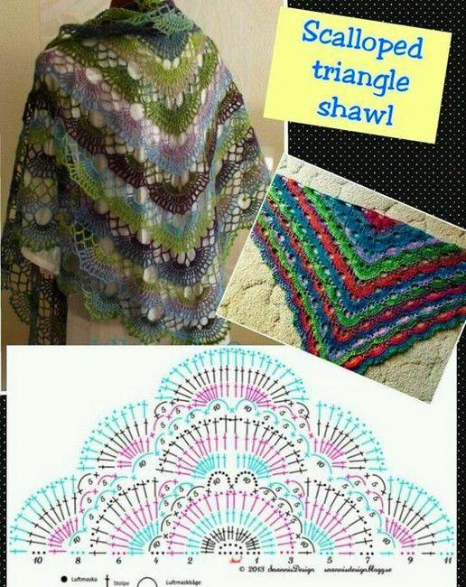 grilles de châle au crochet (6) | tito | Pinterest | Chal, Ponchos y ...