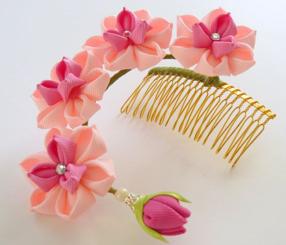 Kanzashi Fabric Flower hair comb . Pink hair comb. Pink от JuLVa