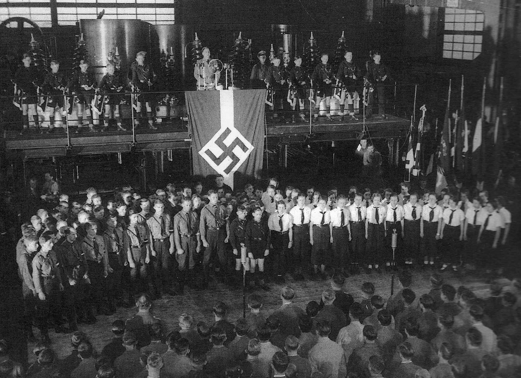 militaryhistoryonline com wwii images bdm3 jpg hitler a hitler youth pledge ceremony used as research for risking exposure by jeanne moran