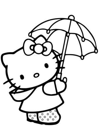 Lovely Hello Kitty Under The Umbrella Coloring Page Hello Kitty Colouring Pages Hello Kitty Coloring Hello Kitty Drawing