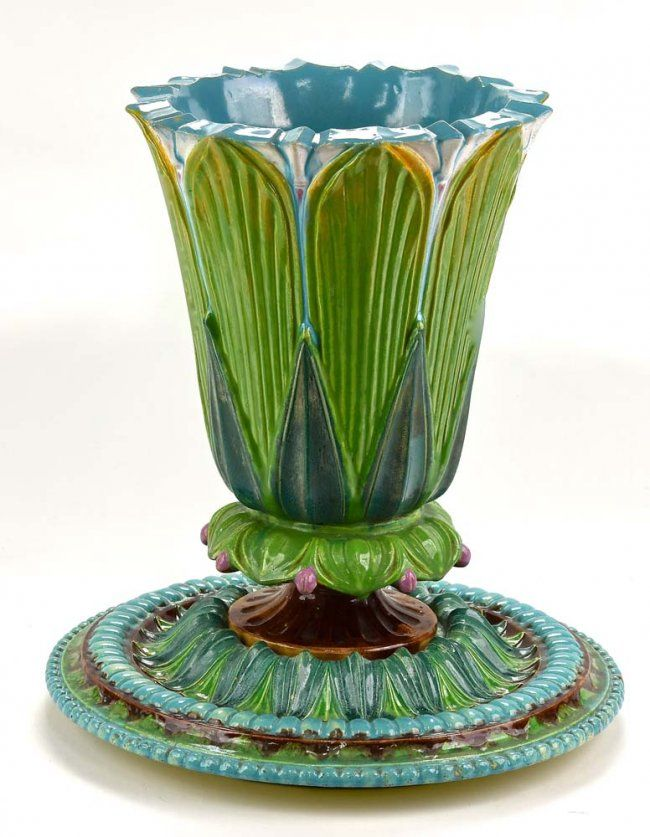 Rare Majolica Vase On Stand With Victorian Registration Majolica
