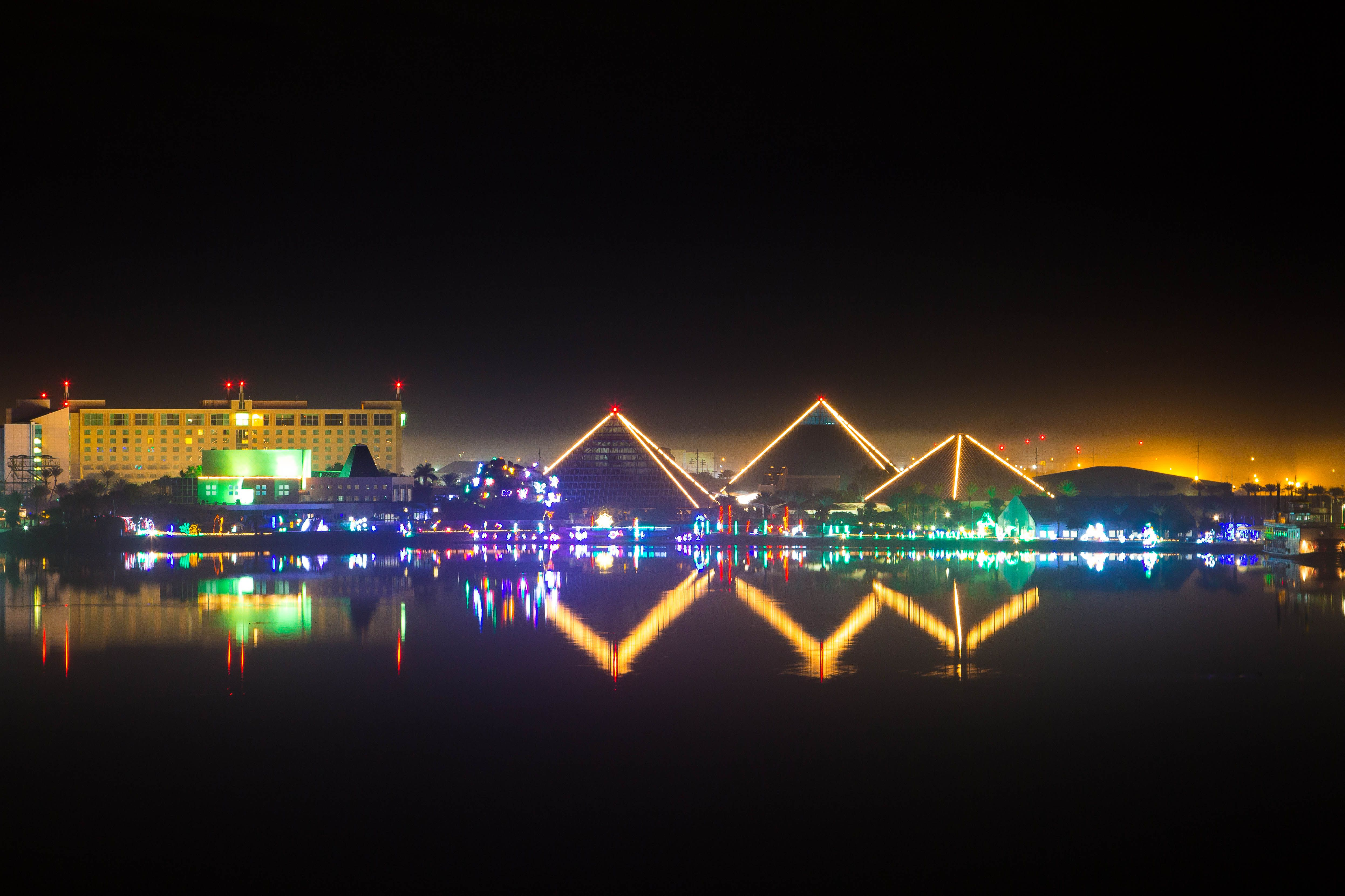 The Moody Gardens Pyramids during Festival of Lights Christmas
