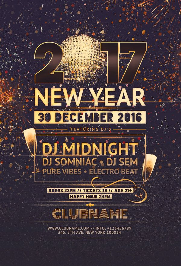 New Year Flyer  Flyer Template Flyer Design Templates And Party