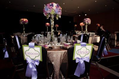 These signs designated seating for the bride, groom and immediate family members.