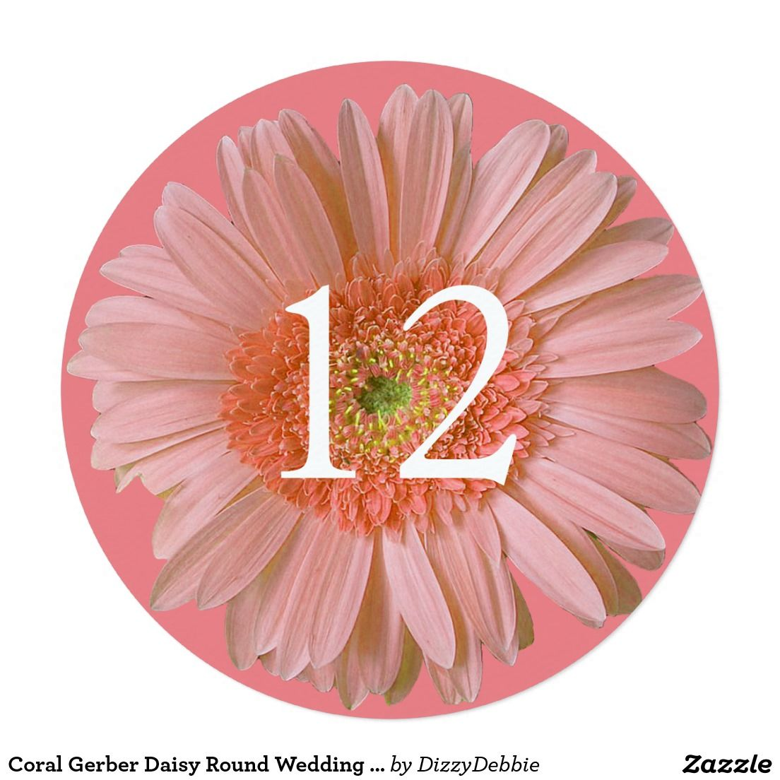 Coral Gerber Daisy Round Wedding Table Number Card | Everything ...