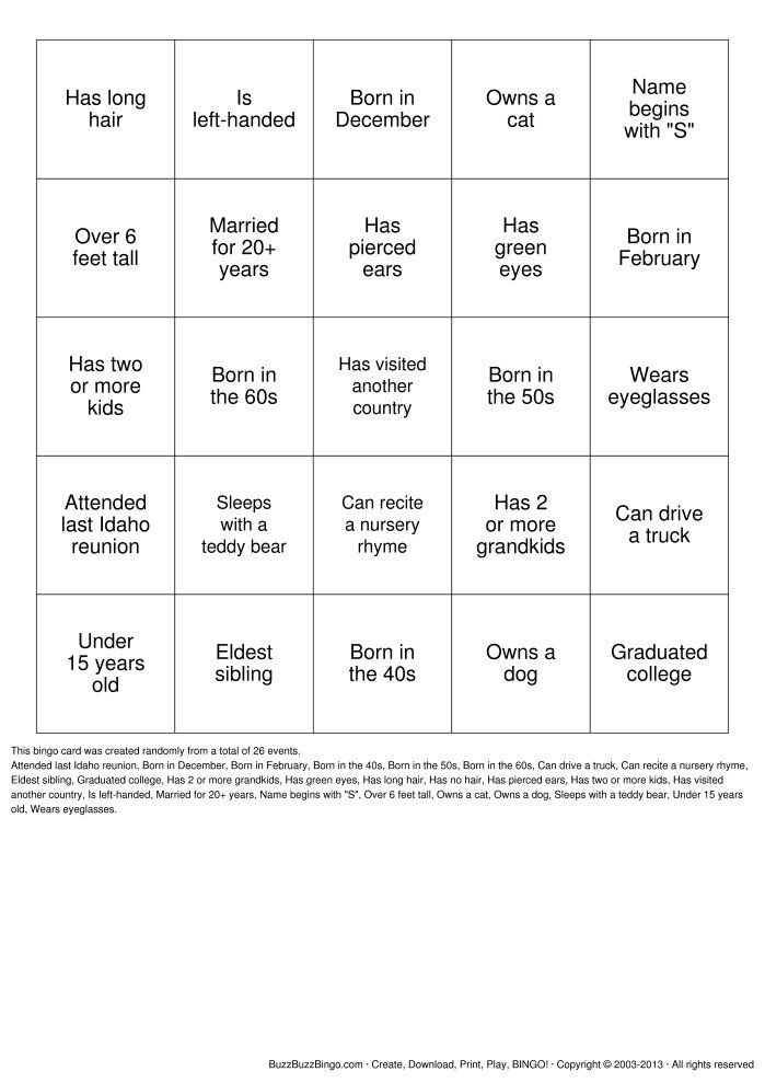 Reunion Activities  Herzinger Reunion Human Bingo Bingo Cards To