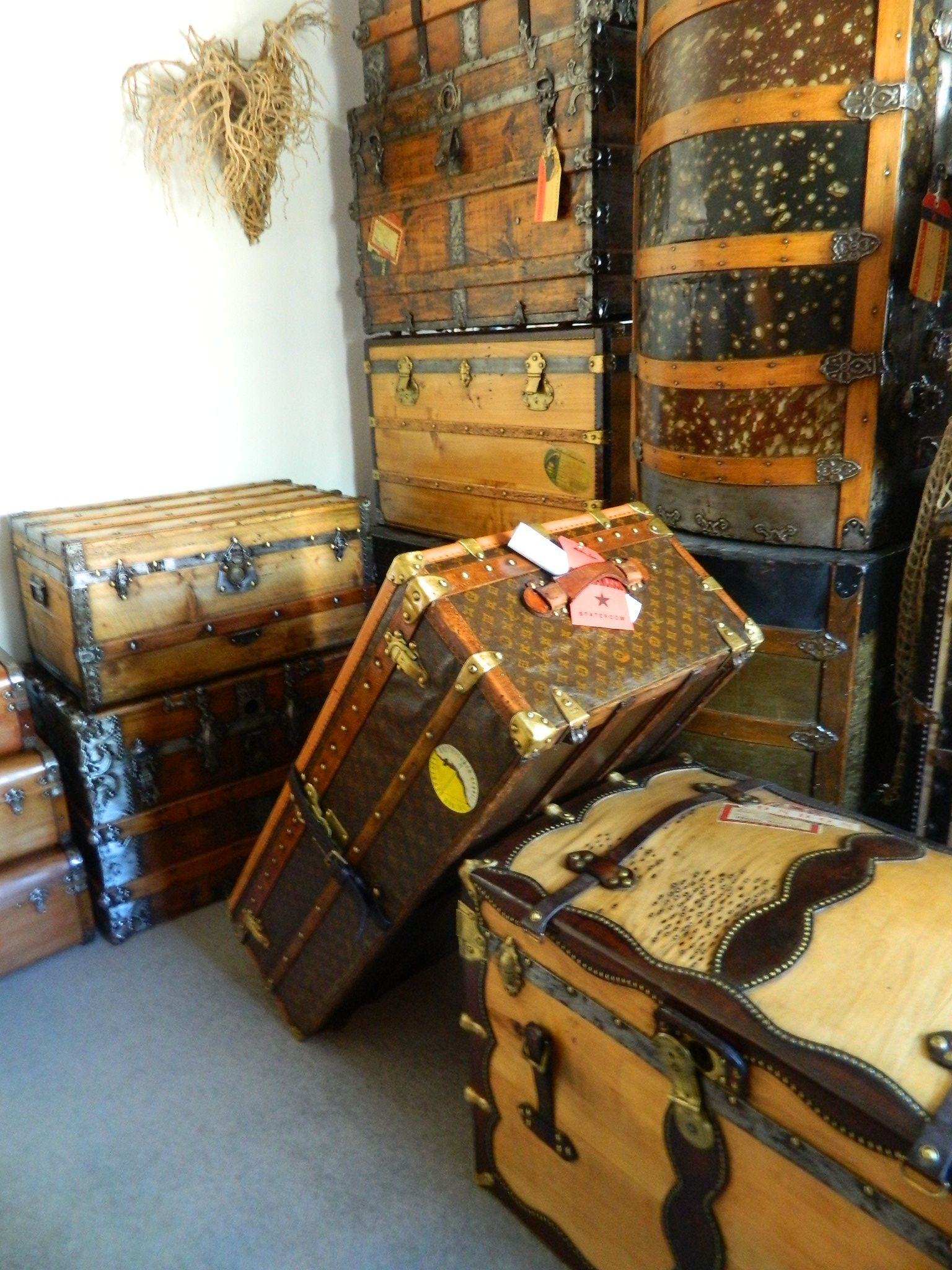 Antique Trunks Restored By Julieanne Hayward Of The Steam Ship Trading Co Auckland New Zealand Antique Trunk Vintage Trunks Trunks