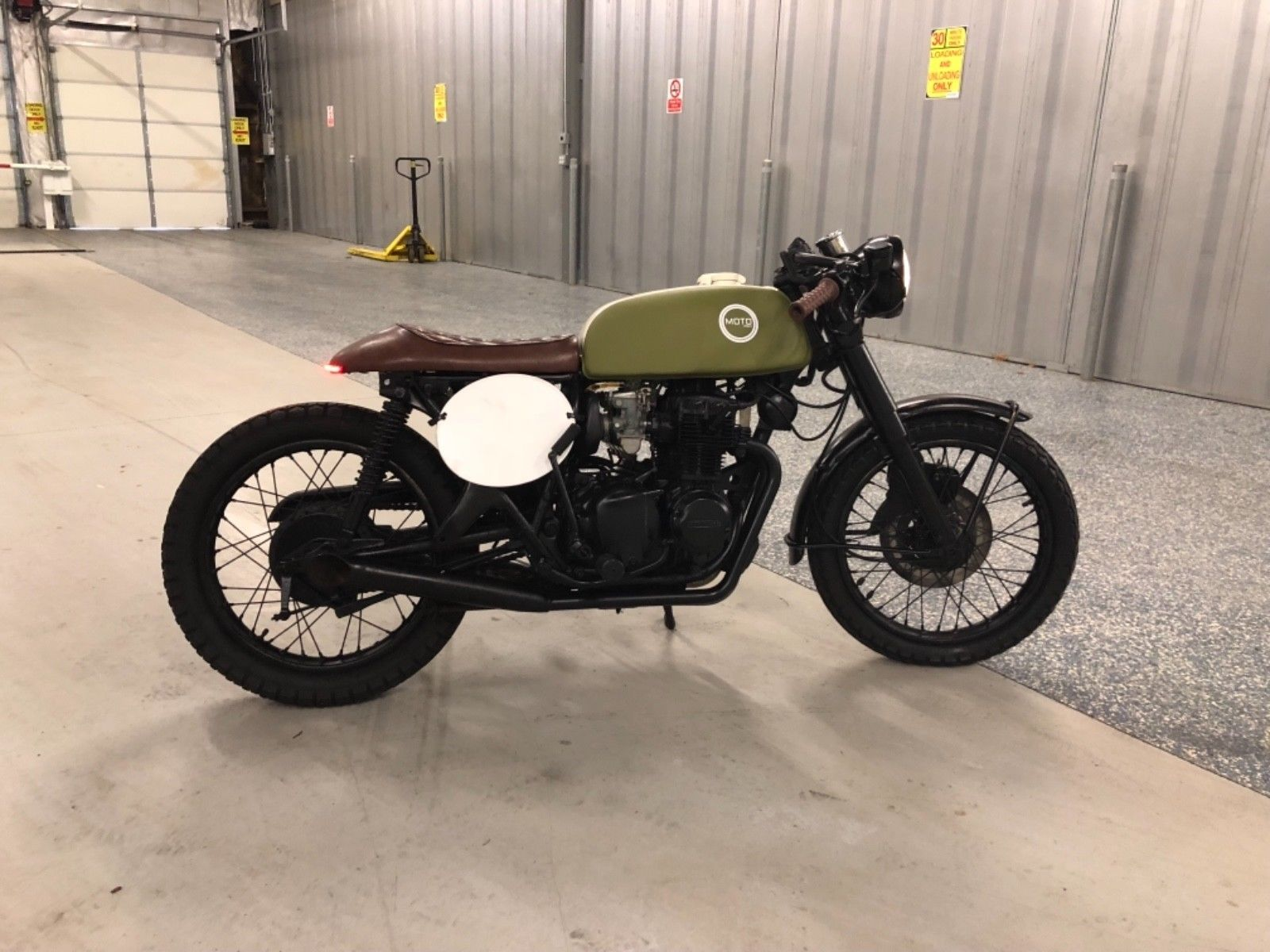 1974 Honda CB350F Cafe Racer Custom Painted Tank Matte Green Antique White 4 Into 2 Exhaust Seat LED Tail Light Mini Speedometer New