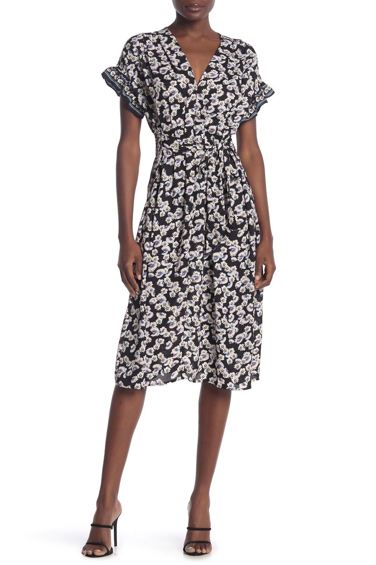 Max Studio Ruffle Sleeve Midi Dress Nordstrom Rack Midi Dress With Sleeves Midi Dress Nordstrom Dresses [ 1800 x 1200 Pixel ]