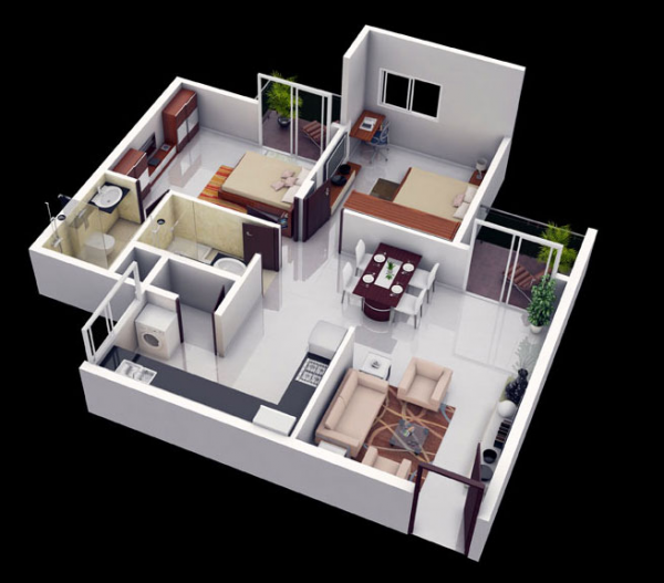 25 More 2 Bedroom 3d Floor Plans Small House Plans 2bhk House Plan Home Design Plans