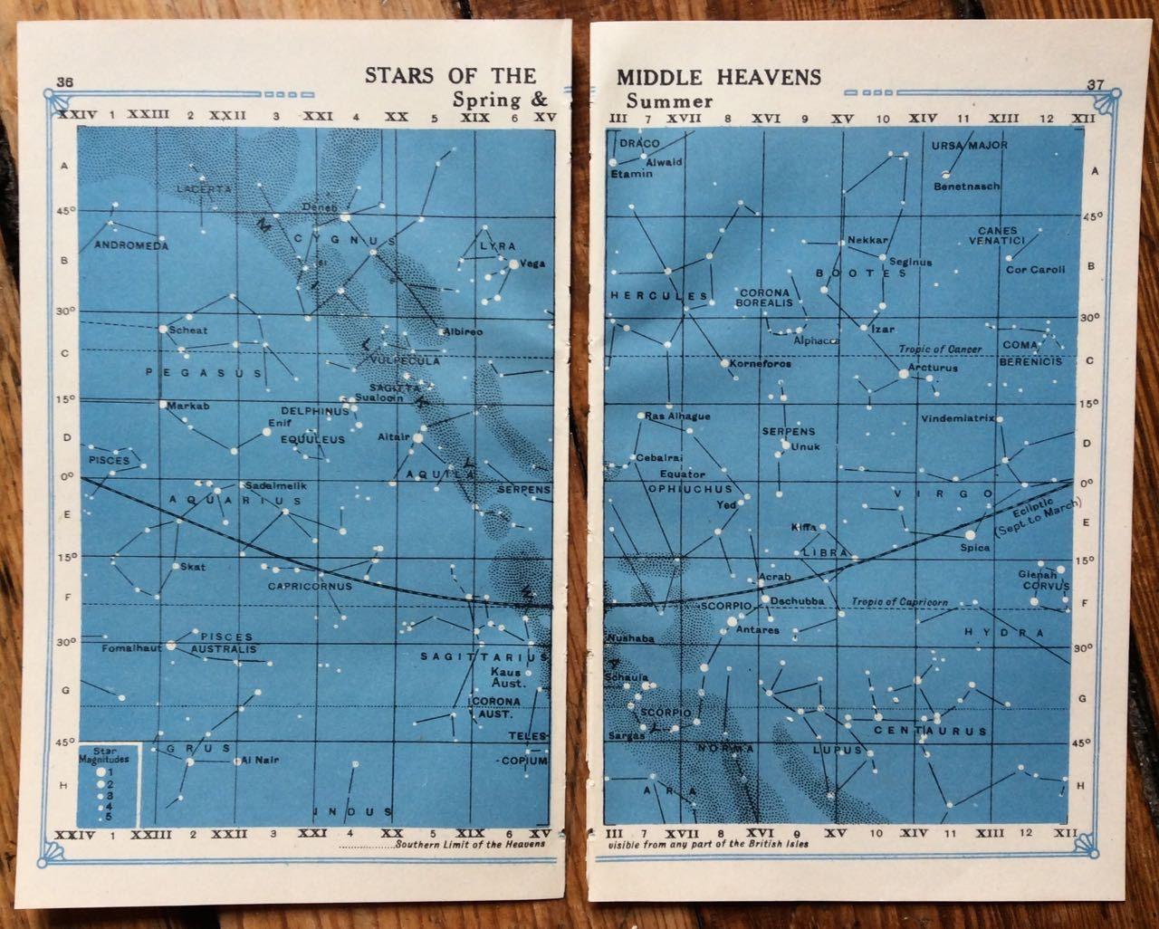 Star Chart Prints Original Vintage Celestial Astronomy