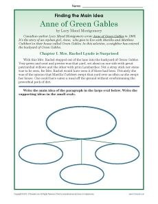 3rd or 4th grade main idea worksheets about the book anne of green gables green gables. Black Bedroom Furniture Sets. Home Design Ideas