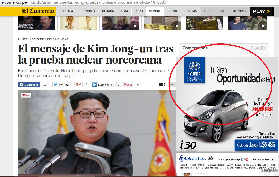 El dirigente máximo de Corea del Norte, Kim Jong-un, justificó este domingo el primer ensayo de bomba de hidrógeno anunciado en su país por la necesidad de evitar una guerra nuclear con Estados Unidos. y como podemos observar la publicidad contextual se trata sobre los autos de hyunday y el precio con que se esta lanzando al mercado