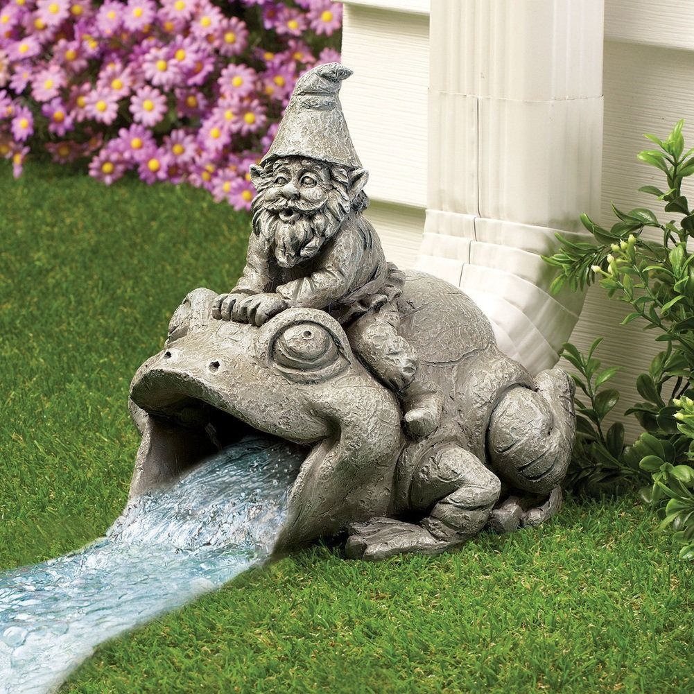 Frog And Gnome Decorative Downspout 12 95 Usd Decorative Downspouts Garden Statues Outdoor Garden Statues