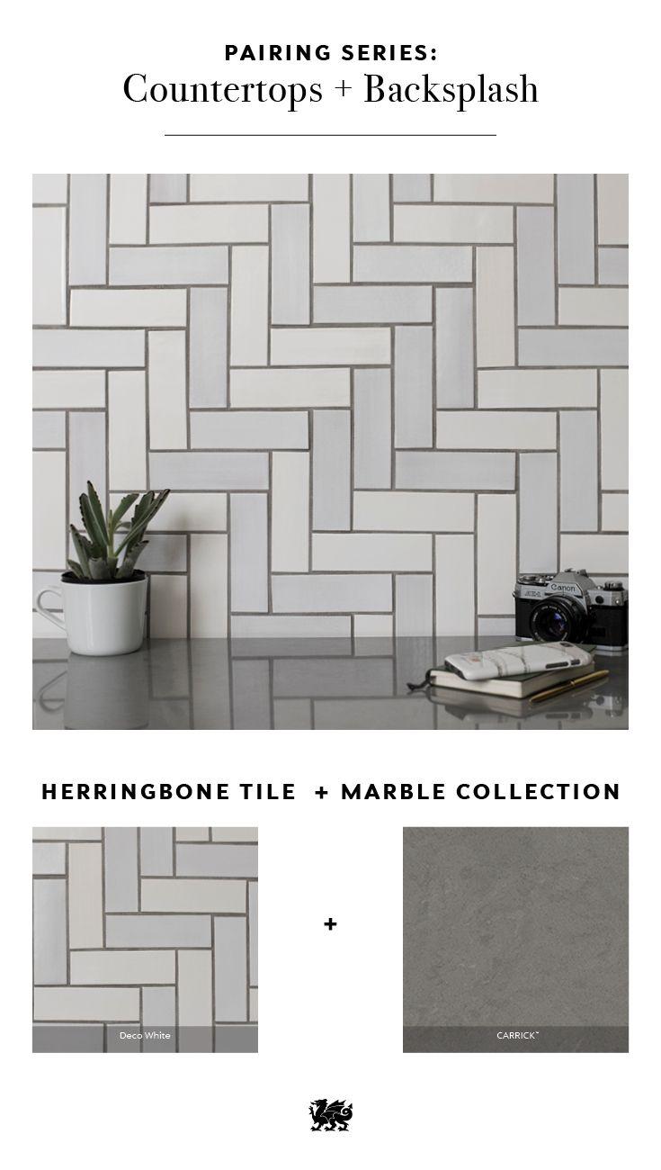 Refine Define 4 Ways To Pair Handmade Tile With Cambria Grey Countertops Tile Countertops Kitchen Unique Tile Backsplash