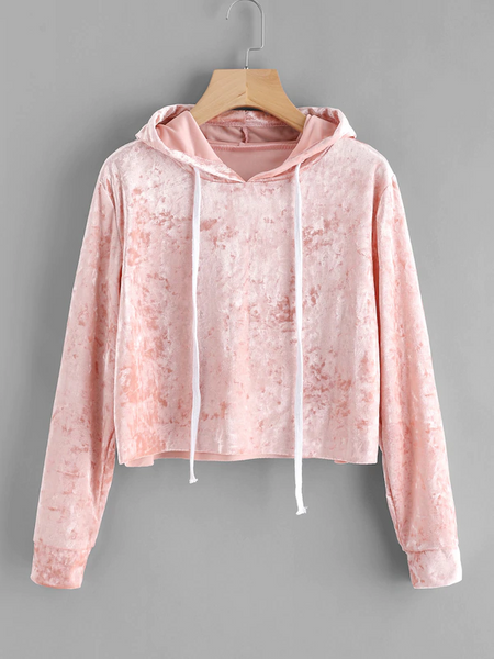 73c430e82eb Crop Top Velvet Hoodie Pink $15 - SAME DAY PICK UP OR FREE SHIPPING - Buy