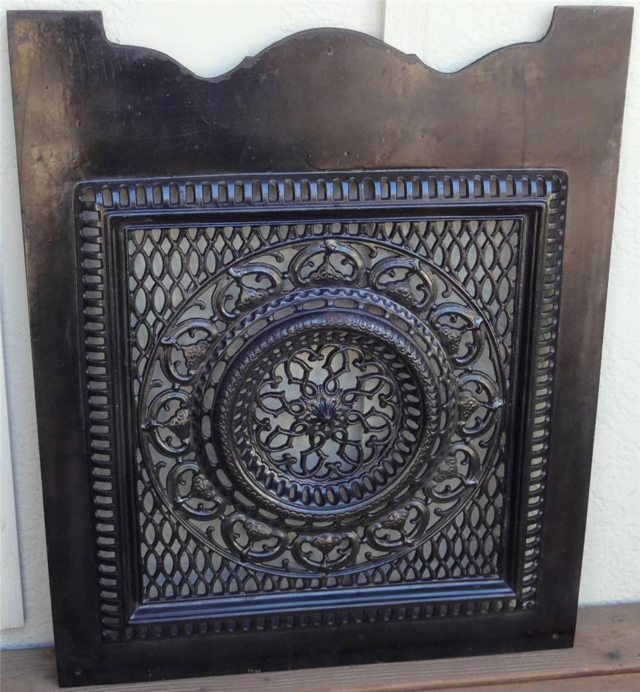 Antique Black Enameled Cast Iron Ornate Victorian Cut Out Fireplace Summer Cover  Or Best Offer