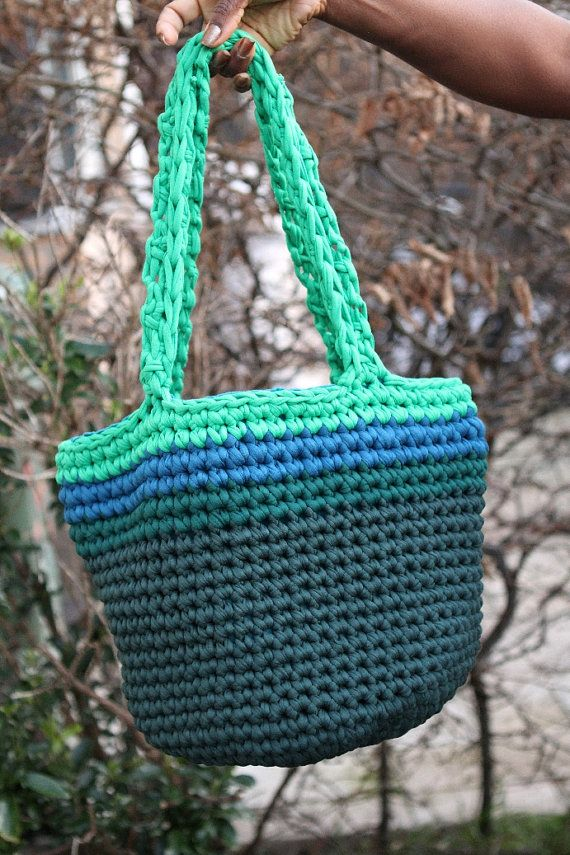 Crochet tote three shades of green and blue Stretch by SmpliAnwi, €45.00