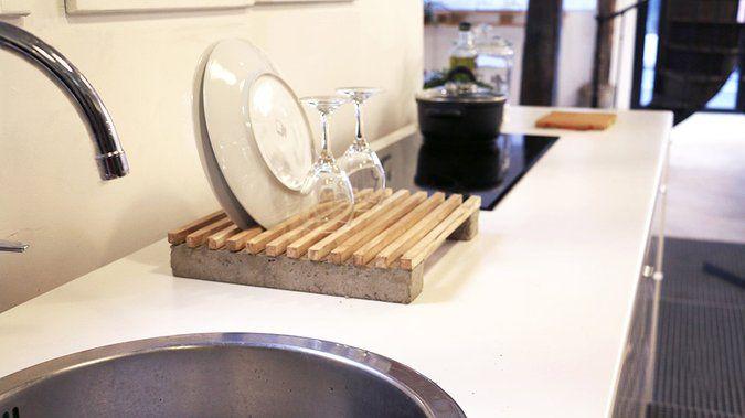 tuto un gouttoir vaisselle en bois et b ton m6 diy pinterest. Black Bedroom Furniture Sets. Home Design Ideas