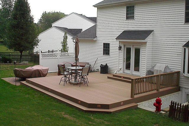 Ground level composite deck ground level decking and for How to build a low deck