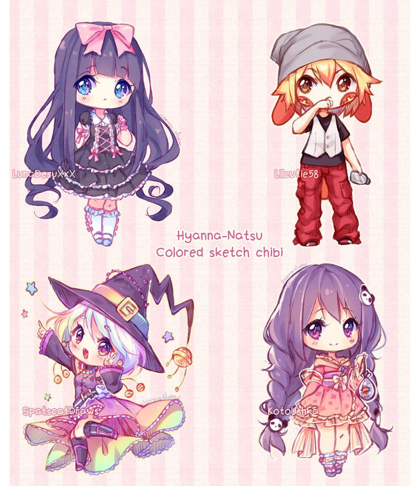 Commission Sketch Chibis By Hyanna Natsu Deviantart Com On Deviantart Cute Anime Chibi Kawaii Chibi Chibi Drawings