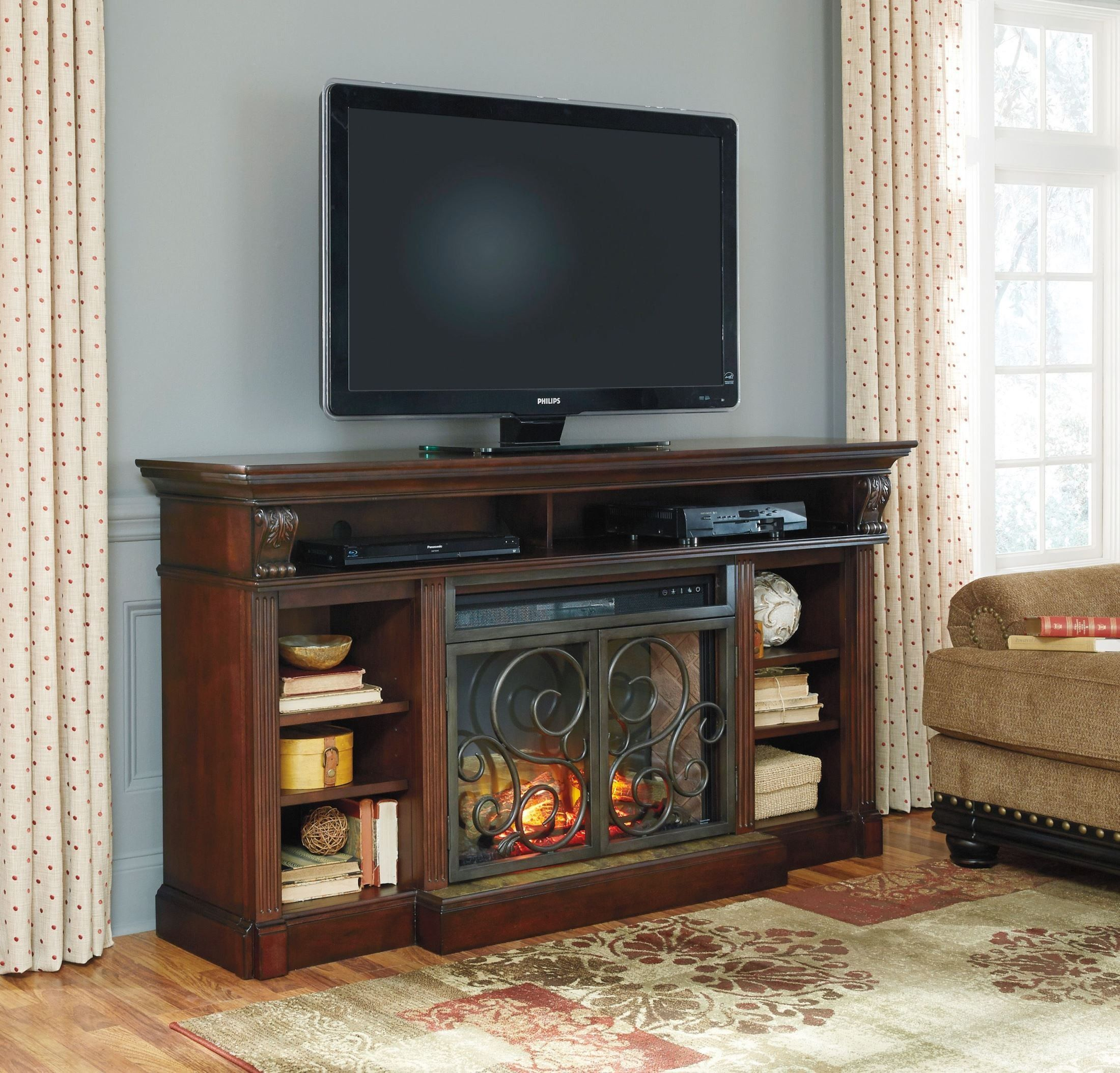 Alymere Extra Large TV Stand With Fireplace Insert ATTIC