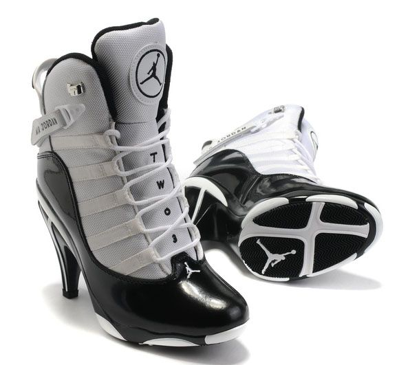 Air Jordan 6 Anneaux Talons Hauts Blanc Noir