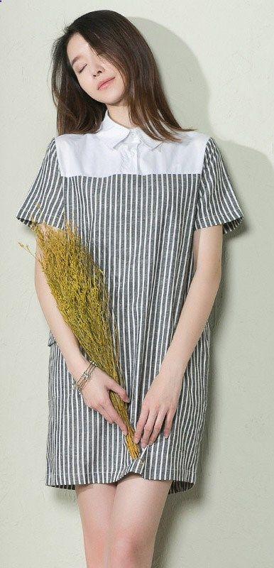 dadff8f0d50 Vertical strip cotton summer women shirt dress plus size sundress ...