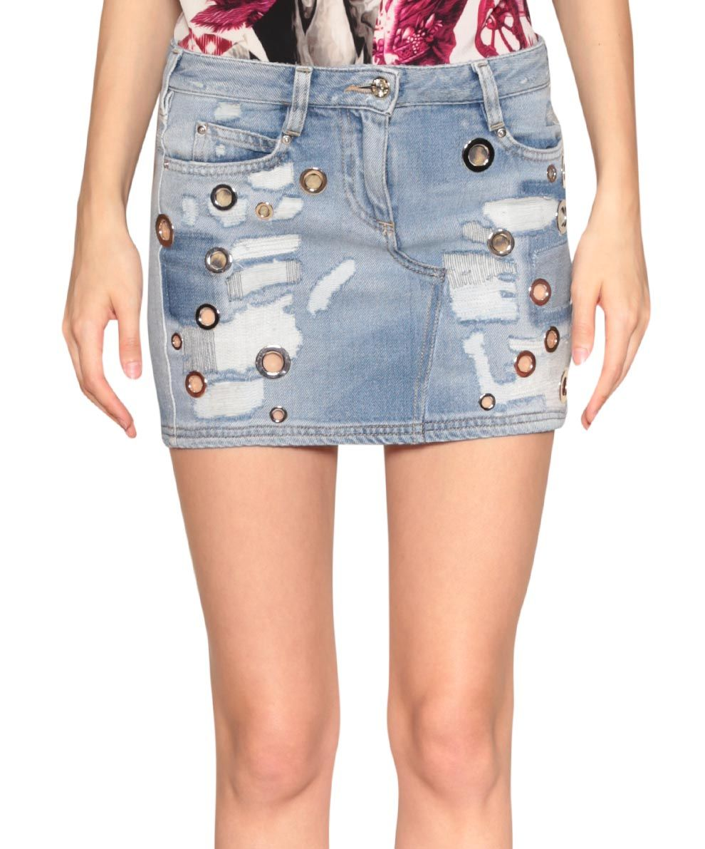 Roberto Cavalli Destroyed cotton denim skirt | Lindelepalais.com 31881