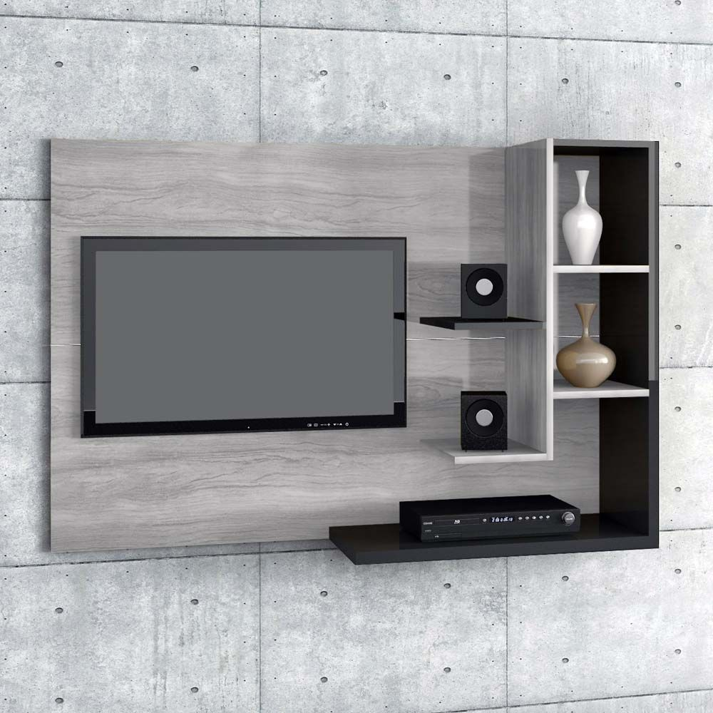 Home Simbal Sleep Acapulco Com Painel Para Tv Lcd Ate 32 Cinza Preto Bedroom Wall Decor Above Bed Tv Wall Decor Modern Tv Wall Units