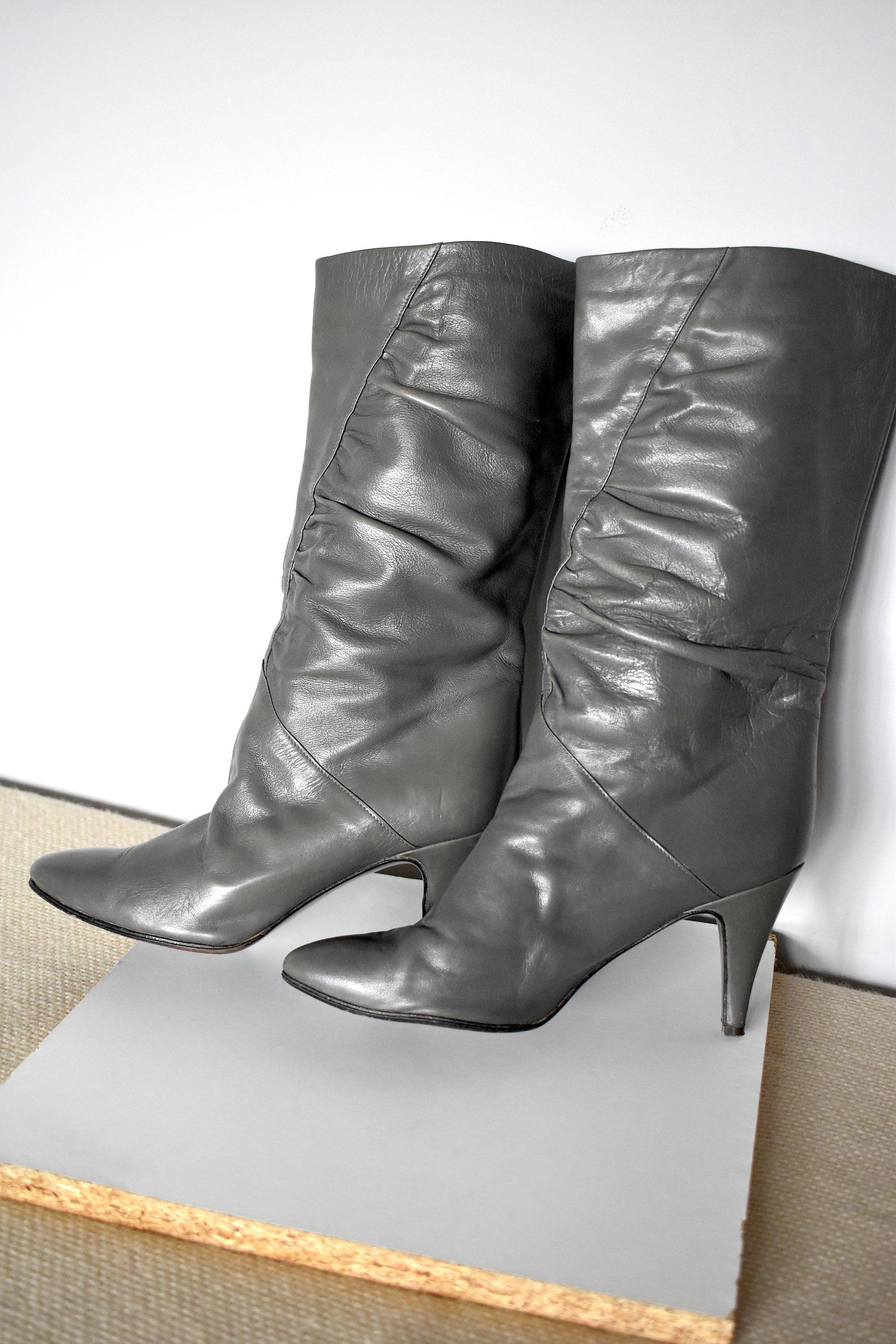 1b1fa31fa0c98 Vintage 80's gray leather slouch booties/ Pull-up boots/ High-heeled ...