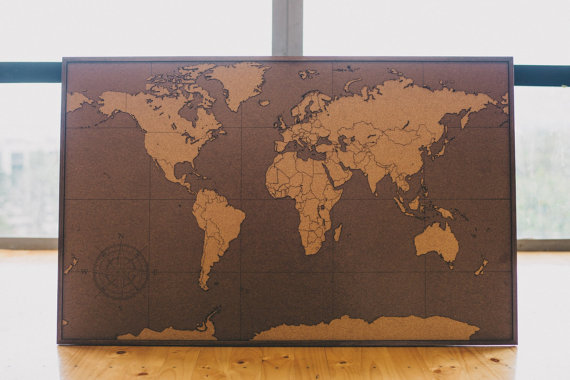 Laser Cut World Map.Big Lasercut And Handmade Cork World Map Wall Art With Laminated