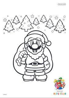 mario christmas colouring in sheet